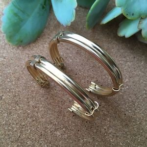 VTG Huge Gold Hoop Earrings Thick & Classic
